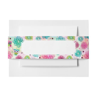 Cute flower owl background pattern invitation belly band