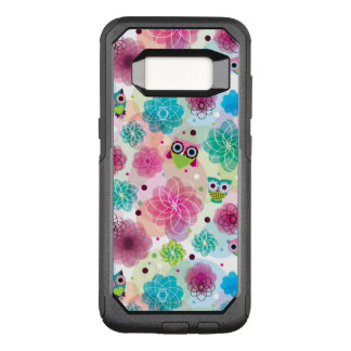 Cute flower owl background pattern OtterBox commuter samsung galaxy s8 case