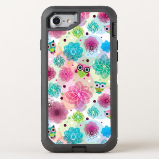 Cute flower owl background pattern OtterBox defender iPhone 8/7 case