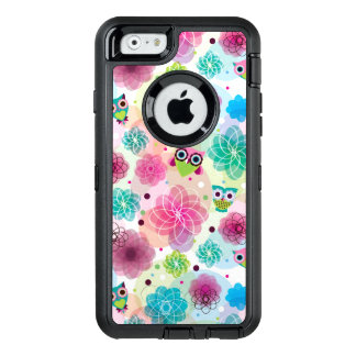 Cute flower owl background pattern OtterBox defender iPhone case