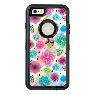 Cute flower owl background pattern OtterBox defender iPhone case