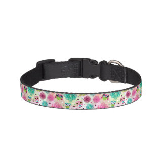 Cute flower owl background pattern pet collar