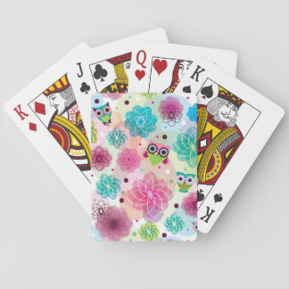 Cute flower owl background pattern playing cards