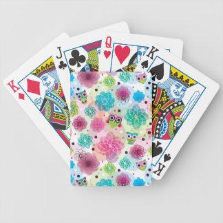 Cute flower owl background pattern poker deck