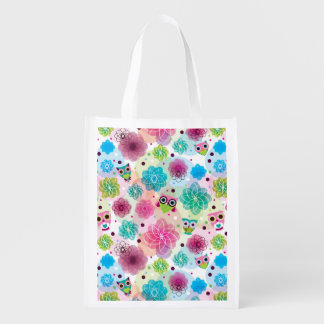 Cute flower owl background pattern reusable grocery bag