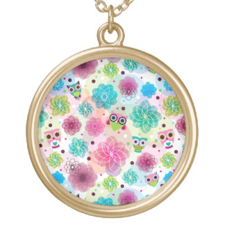 Cute flower owl background pattern round pendant necklace