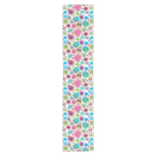 Cute flower owl background pattern short table runner