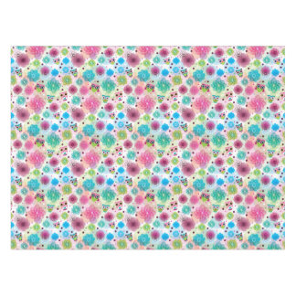 Cute flower owl background pattern tablecloth