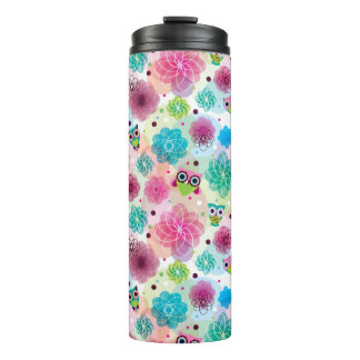 Cute flower owl background pattern thermal tumbler