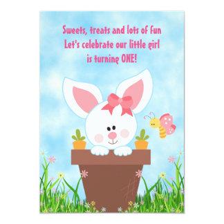 Cute Flower Pot Bunny 1st Birthday Invitations