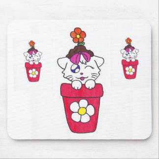 cute flower pot kitten mouse pad