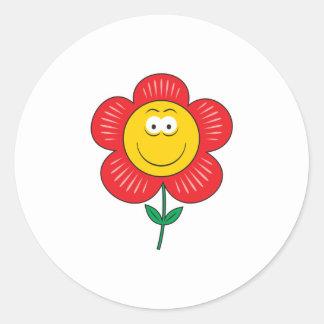 Cute Flower  Smiley Face Round Sticker