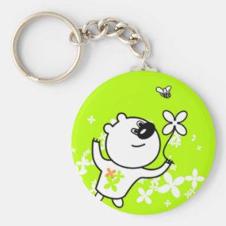 Cute Flower Teddy Bear On Lime Green Key Ring