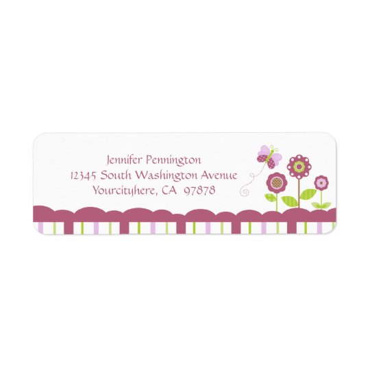 Cute flowers and butterfly return address label
