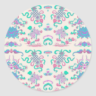 Cute Flowers and Shapes on Cream Round Sticker