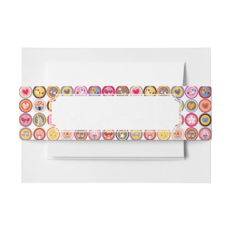 cute flowers, birds, hearts pattern invitation belly band