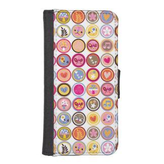 cute flowers, birds, hearts pattern iPhone SE/5/5s wallet case