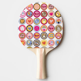 cute flowers, birds, hearts pattern ping pong paddle