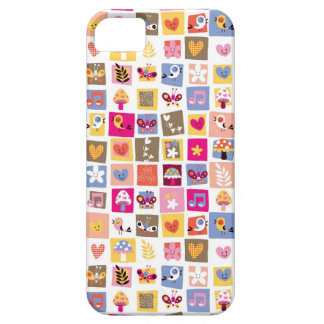 cute flowers, birds, hearts squares pattern barely there iPhone 5 case