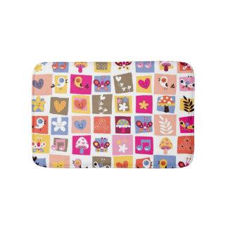cute flowers, birds, hearts squares pattern bath mat