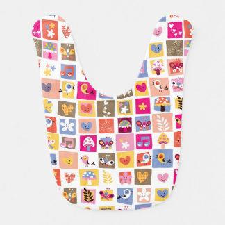 cute flowers, birds, hearts squares pattern bib