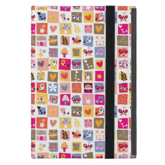 cute flowers, birds, hearts squares pattern case for iPad mini