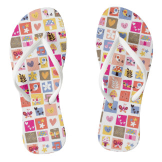 cute flowers, birds, hearts squares pattern flip flops