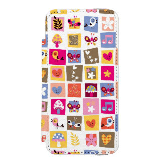 cute flowers, birds, hearts squares pattern incipio watson™ iPhone 5 wallet case