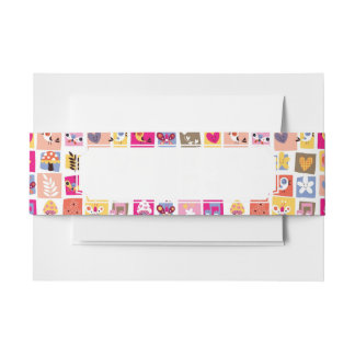 cute flowers, birds, hearts squares pattern invitation belly band