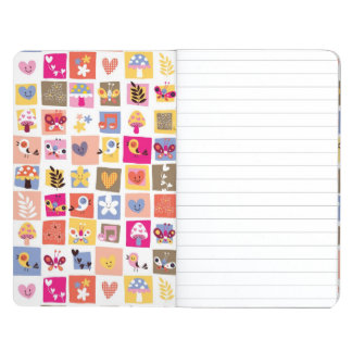 cute flowers, birds, hearts squares pattern journal