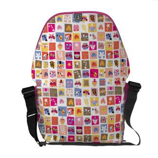 cute flowers, birds, hearts squares pattern messenger bag