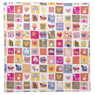 cute flowers, birds, hearts squares pattern napkin