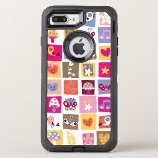 cute flowers, birds, hearts squares pattern OtterBox defender iPhone 8 plus/7 plus case