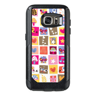 cute flowers, birds, hearts squares pattern OtterBox samsung galaxy s7 case
