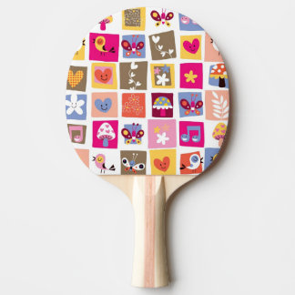 cute flowers, birds, hearts squares pattern ping pong paddle