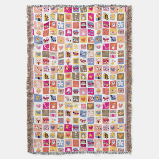 cute flowers, birds, hearts squares pattern throw blanket