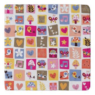 cute flowers, birds, hearts squares pattern trivet