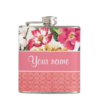Cute Flowers Faux Pink Glitter Circles Hip Flask