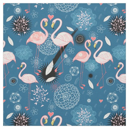 Cute flowers flamingos pattern fabric