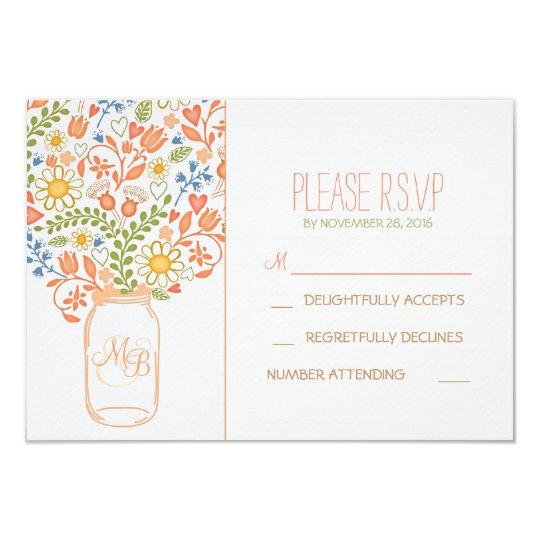 cute flowers mason jar wedding RSVP cards
