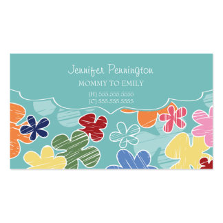 Cute flowers mommy or parent calling business card