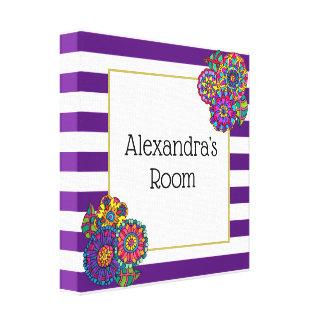 Cute Flowers Purple Striped Monogram Name Room Canvas Print