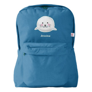 Cute fluffy baby seal backpack