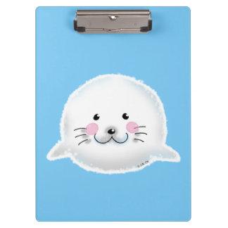 Cute fluffy baby seal clipboard