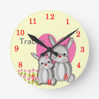 Cute Fluffy Bunny Rabbits Personalized Name Round Clock