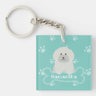 Cute Fluffy Curly Coat Poodle Puppy Dog Monogram Key Ring