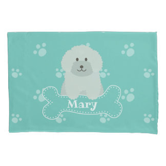 Cute Fluffy Curly Coat Poodle Puppy Dog Monogram Pillowcase