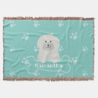 Cute Fluffy Curly Coat Poodle Puppy Dog Monogram Throw Blanket