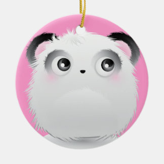 Cute Fluffy Furry White Cartoon Panda Christmas Ornaments