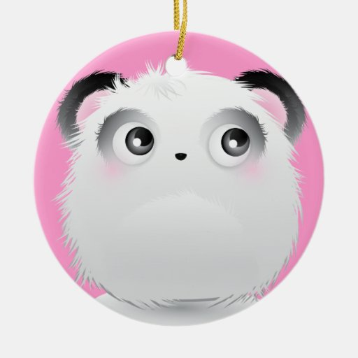Cute Fluffy Furry White Cartoon Panda Christmas Ornaments